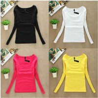 Wholesale Thermal Underwear Shorts - Wholesale-New T Shirt Women Long Sleeve Winter Tops Fashion 2016 T-shirts For Women Thermal Underwear Female T-shirt Camisas Femininas