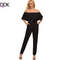 Wholesale Wholesale Ladies Jumpsuits Sleeves - Wholesale- DIDK Women Jumpsuits and Rompers For Summer Ladies Plain Black Off The Shoulder Half Sleeve Pocket Ruffle Jumpsuit