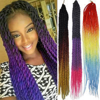 "Wholesale 2x 12 - 22"" Ombre 3Tone Synthetic Kanekalon Fiber 2X Pretwist Crochet Hair Extension Long Crochet Jumbo Braids Hair 20roots bundle"