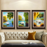 Wholesale Oil Paintings Swans Canvas - Swan Lake Framed Canvas Oil Painting With Wooden Framed Landscape Paintings Home Decoration Modern Paintings On The Wall Scenery