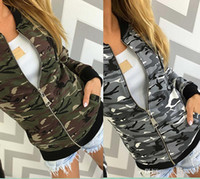 Wholesale Womens Fashion Military Jacket - 2017 Spring New Fashion Camouflage Print Street Style Military Women Bomber Jacket Womens Spring Jackets Thin Style Short Coat With Zipper
