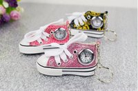 Wholesale Watches Light Women - New China Made Fashion 3D Canvas Shoes Watches With Keychains Metal Key Ring Watch For Men and Women Children Gift