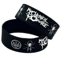 Wholesale Wholesale Romance Gifts - Wholesale Shipping 50PCS Lot My Chemical Romance Punk Style Silicone Wristband Bracelet for Music Fans Adult Size