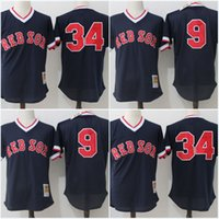 Wholesale High Ted - Mesh Mens Boston Red Sox Jersey 34 David Ortiz 9 Ted Williams Throwback Authentic Collection High Quality Jerseys