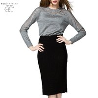 Wholesale Sexy Animal Print Sweater - Wholesale- ElaCentelha Women Autumn Winter 2016 Tops Knitted Sweater Hollow Out Woman Sweater Long Sleeves Plus Size Fashion Sexy Sweaters