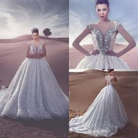 Wholesale Best Wedding Gown Designers - Best Selling Ball Gown Beach Lace Wedding Dresses Sweetheart Long Trian Plus Size Bridal Wedding Gowns From Said Mhamad Designer 2017 New