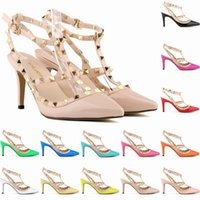 Sexy Pointed Toe Med High Heels Été Womens Wedding Fashion Buckle Studded Stiletto High Heel Sandals pompes