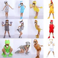Wholesale White Duck Costume - Boy Girls Various Animal Costume for Kids Cat Duck Lion Cow Monkey Pig Anime Theme Cosplay Headpiece Hallowmas Costume Boy Girls Party
