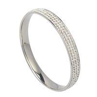 Wholesale European Bangles - 2017 European Elegant Simple Design Round Cut Cubic Zircon Bracelet 316L Stainless Steel Charming Bangle for Women 8mm wide