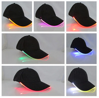 Wholesale Cap Led Glow Lights - Unisex Caps Fashion LED Lighted Glow Club Party Black Fabric Travel Hat Baseball Cap