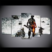 Wholesale battlefield poster - 5 Pcs Set Framed HD Printed battlefield bad company Painting Canvas Print room decor print poster picture canvas Free shipping ny-2937