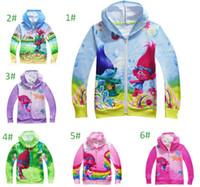 Wholesale Boys Hooded Denim Jacket - Boys Girl Trolls Hoodies Sweatshirts Kids Cartoon Top Children Cartoon pPincess Long Sleeve Zipper Hoodie Jacket Kids Coat
