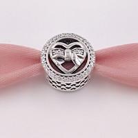 cuentas de corbata al por mayor-Auténticos 925 granos de plata esterlina Loving Ties Charm Charms Se adapta al estilo de Pandora Europeo Joyería Pulseras Collar 792146CZ