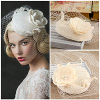 Wholesale Ivory Hats Veils - Wholesale-New Linen Lace Bridal Hats 2016 For Wedding Flowers Pearls Wedding Birdcage Veil Hats For Bride Wedding Accessories BH9