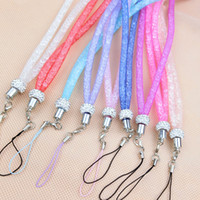 Wholesale Wholesale Lanyard Lace - Universal paragraph long section hanging lace crystal lanyard Crystal Rhinestone in neck with claw clasp ID Badge Holder for Mobile phone
