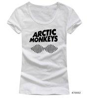 kısa kollu kişiselleştirilmiş t toptan satış-Toptan-Kişiselleştirilmiş Desen Custom Rock Band Arctic Monkeys Kadın T Shirt Scoop Yaka Kısa Kollu Seksi Kız Kadın tişörtler Casual