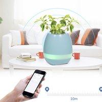 Wholesale Blue Flowerpot - New arrival Smart Music Flowerpot 3 Colors Music Vase Wireless Bluetooth Speaker K3 Intelligent Plant Piano Music player with led light