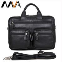 Wholesale Briefcase Portfolio Woman - Wholesale- MVA Leather Laptop Bag 14 inch Business Men Briefcases Handbags Genuine Leather Men Bag Male Shoulder Messenger Bags Portfolio