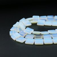 Wholesale 14mm White Stone Beads - Wholsale 14mm Flat Suqare Beads Smooth Natural Opal Gemstone Bead Semi Precious Stone Strand 27pcs per set
