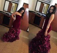 Wholesale velvet sweetheart dress - New Burgundy Mermaid Prom Dresses 2017 Rose Floral Flowers Tiered Tulle Sweetheart Plus Size Long Formal Party Gowns Evening Dress Vestios