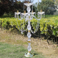 Wholesale Crystal Blocks Wholesalers - New 90cm height Acrylic 5-arms golden color metal candelabras with crystal pendants wedding candle holder centerpiece 1 lot=10 pieces