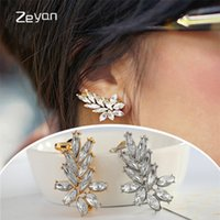 Wholesale Silver Plated Eye Screw - Zeyan 1 Pair Fashion Punk Horse Eye Ear Clip Silver Gold Plated Cuffs Crystal Earrings For Women Statement Jewelry Party Shine