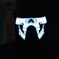 ingrosso illuminazione halloween d'epoca up-Maschere LED Masquerade maschera mezza faccia inferiore Maschera EL maschera el lampeggiante con un regalo a led controllato dal suono per il party party Skull XLL05