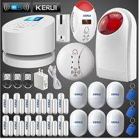 alarma sirena puerta sensor al por mayor-LS111- Original KERUI W2 WIFI GSM PSTN sistemas de alarma para el hogar + 12 puertas autocheck sensor + 6 anti-pet pir + sensor de rotura de cristales de choque + sirena estroboscópica
