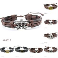 Wholesale Antique Bronze Charms Crown - (10PCS lot) ANTIQUE SILVER Tone Bronze Crown CHARM Adjustable Leather Cuff Bracelet PUNK Casual Friendship GIFTS Jewelry