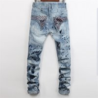 Wholesale Classic Trousers For Men - Men Straight Jeans Classic Denim Trousers Robin For Men,High Quality Cotton Jeans Fried Snow Slim Jeans Rhinestone Decoration