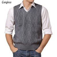 Wholesale Upscale Vest - Wholesale- Men Sleeveless Sweaters And Pullovers Knitted Vest Autumn Winter V-neck Wool Upscale Mens Jumper Sweater Vest Men Brand Clothing