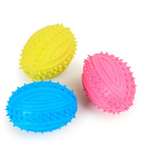 Wholesale Dog Toys Bite - Green TPR Rubber Ball Pet Dog Toy Non-toxic Bitter Bite Rumbling Rugby Pet Supplies Dog Favorite Toy