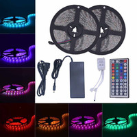 Wholesale Pc Lighting Kits - Led Strip Lights Kit SMD5050 Waterproof 32.8 Ft (10M) 300leds RGB 30leds m with 44key Ir Controller DC12V Power Supply for Pool TV Backlight