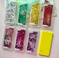 Wholesale Iphone C Back Covers - 5C Case Bling Liquid Hard Plastic Skin For Iphone 5C 5 C PC Diamond Glitter Heart Love Sparkle Quicksand Star Clear Cover Moving Back Skin