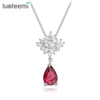 Wholesale Korean Pendant Design - LUOTEEMI Korean Fashion Design Luxury Noble CZ Sexy Flower Waterdrop Pendants for Women Briadal Wedding Necklace Jewelry