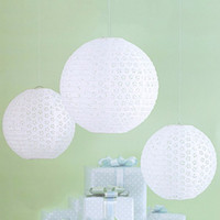 """Wholesale Paper Lantern Yellow - 8"""" to 16""""(40cm) White Hollow Chinese Paper Lantern Ball Luminaria Paper Lanterns Wedding Party Decoration Accessories 9 color in stock"""