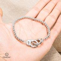 Wholesale Luxury Handcuffs - Strtch Brass Beads Bracelets Bangles Discount Luxury Brand Rhodium Plated Elastic Handcuff Charms Bracelet For Men