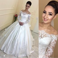 Wholesale cheap wedding dresses resale online - Vintage New Cheap Lace Satin Wedding Dresses A Line Off Shoulders Appliques Long Sleeves Wedding Bridal Gowns Arabic Dubai