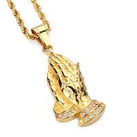 Wholesale Punk Studded - Fashion Pendant Necklace Studded Crystal Stainless Steel Gold Plated Chain Design Punk Rock Filling Pieces Men Hip Hop Jewelry