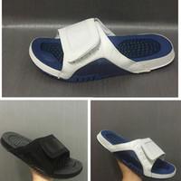 Wholesale Sport Shoe Novelty - Air Retro 12s mens Slipper leather french blue slides black gold Scuffs white blue outdoor men sandal shoes size 40-47
