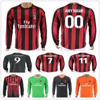 Wholesale honda ac - 17 18 AC Milan Long Sleeve Football Jersey Shirt 8 SUSO 9 LAPADULA 10 HONDA DEULOFEU L.OCAMPOS ZAPATA MONTOLIVO BACCA Soccer Jerseys