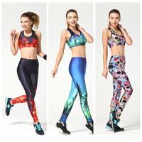 europa jumpsuit großhandel-Sexy Frauen Sport Yoga Anzug Schlank Hohe Elastische Overall Jogging Sportwear Gym 3D Druck Atmungsaktiv Europa Lauftraining Sets