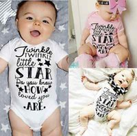 Wholesale Newborn Star - Baby Bodysuit Rompers Cotton Newborn Boy Girl Bodysuit Jumpsuit Playsuit Outfits Girl Twinkle Star Print Baby Clothing
