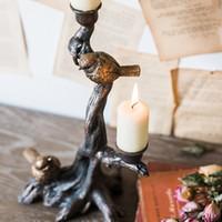 ingrosso candelabro pilastro-DHL Europa retro Classi decorazione da tavola Decorazione albero e uccello Porta candela Porta candela Porta candela