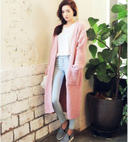 Wholesale Korean Style Large Size Woman - Wholesale-2016 FALL and winter Long cardigan Korean style solid color pocket loose casaul knit sweater large size