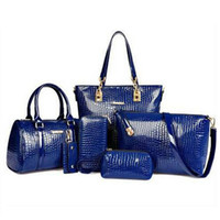 Wholesale Trendy Cross Body Bags - Wholesale-6pcs set New 2016 PU Leather Vintage Women Handbag Set Fashion Trendy Tote Shoulder Bags Cross body Messenger Bags Bolsas