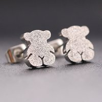 Wholesale Cute Black Bears - TOU TOSO Fashion stainless steel black gold silver matte stud earrings for women brand jewelry cute bears