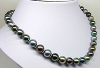 Wholesale Superb quot mm Natural Tahitian genuine black multic round pearl necklace