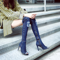 Vert Trendy Peep Toe Fringed Hole Denim Bottes Gladiator Long Boots Femmes Slim Fit Mode Chaussures