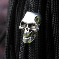 Wholesale Knife Lanyards Pendants - 10pcs pack Paracord Beads Metal Skeleton Skull For Paracord Bracelet DIY Pendant Buckle Paracord Knife Lanyards Survival Bracelets Part